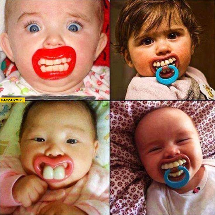 Smoczki dla dzieci niemowląt z wielkimi zębami
