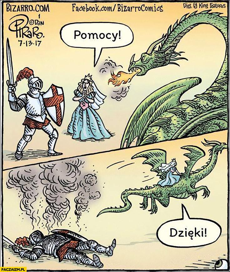 Smok, rycerz, księżniczka: pomocy, dzięki. Odlatuje na smoku