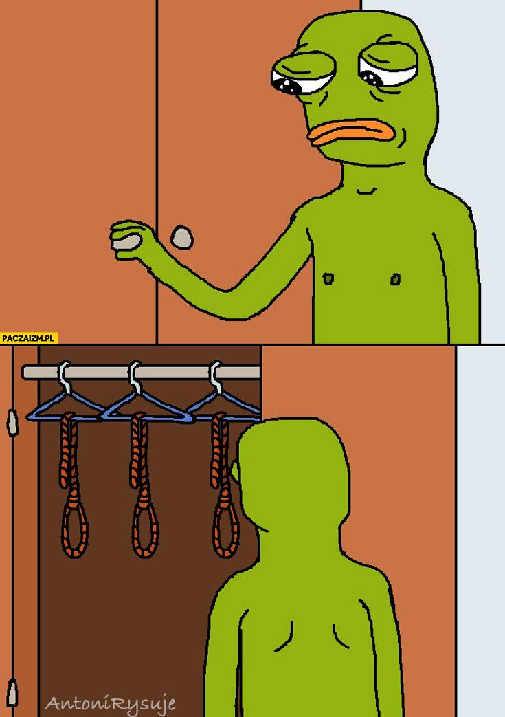 Smutna żaba w szafie same liny do powieszenia się