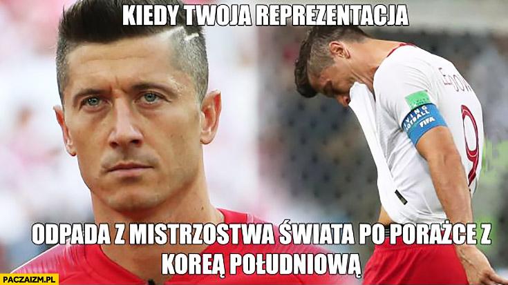 Smutny Lewandowski kiedy Twoja reprezentacja odpada z mistrzostw świata po porażce z Koreą Południową Niemcy Niemiec