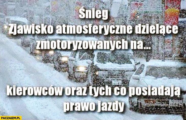 Śnieg zjawisko atmosferyczne dzielące zmotoryzowanych na kierowców oraz tych co posiadają prawo jazdy