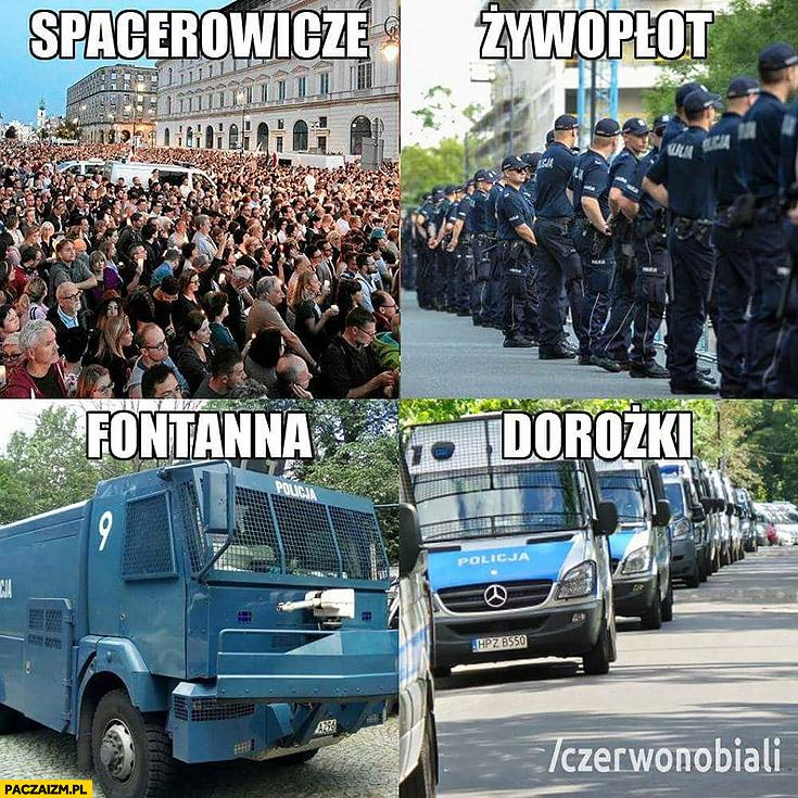 Spacerowicze – manifestanci protestujący, żywopłot – policja, fontanna – armatka wodna, dorożki – wozy policyjne