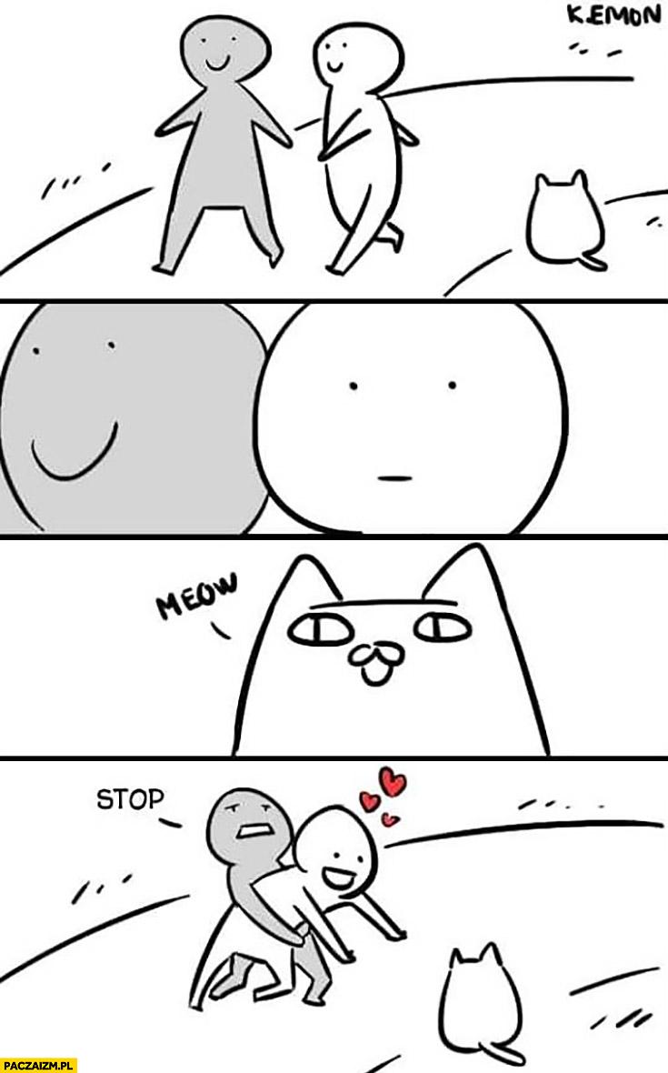 Spacerują pojawia się kotek musi ja trzymać komiks