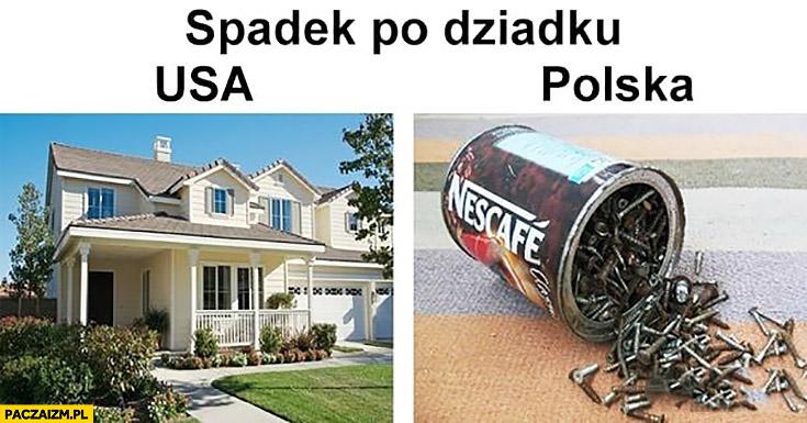 Spadek po dziadku USA dom Polska puszka z gwoździami