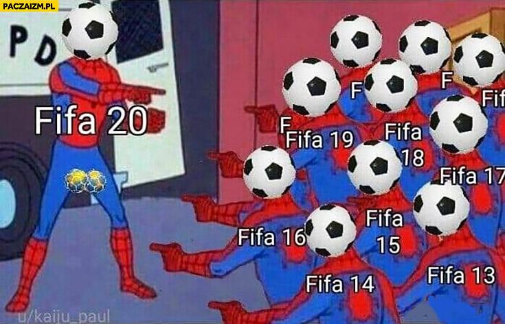 Spiderman FIFA pokazuje na siebie wszystkie części FIFY takie same