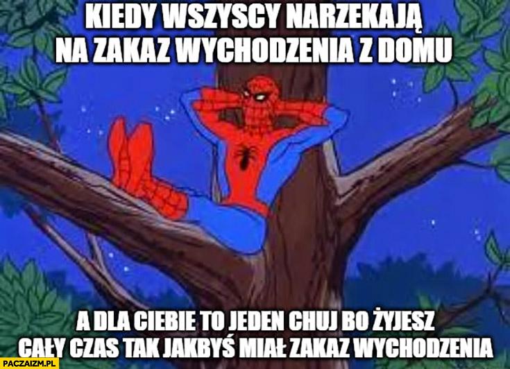 Spiderman kiedy wszyscy narzekają na zakaz wychodzenia z domu a dla Ciebie to jeden pies bo żyjesz cały czas tak jakbyś miał zakaz wychodzenia