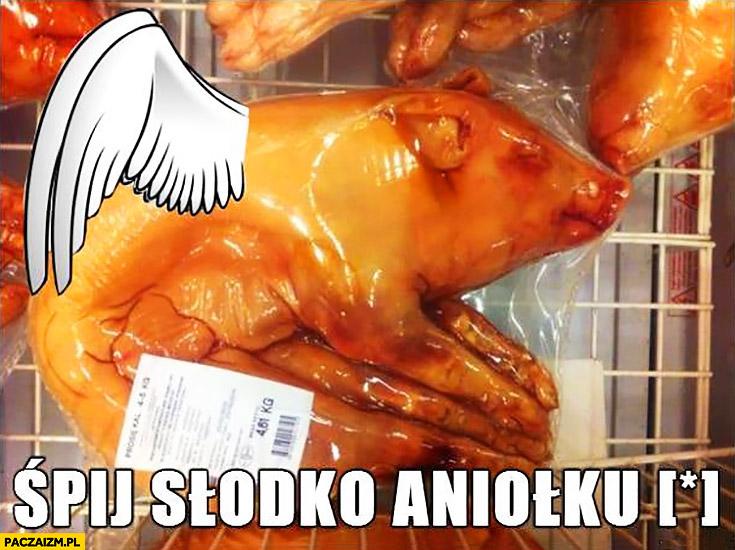 Śpij słodko aniołku świnia prosiak zapakowany zamrożony ze skrzydłami