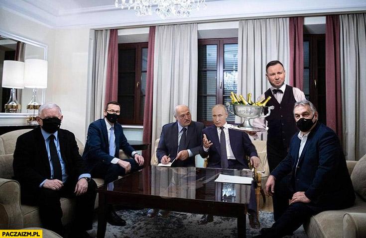 Spotkanie rządu z Orbanem Łukaszenka Putin przeróbka Andrzej Duda kelner serwuje szampana