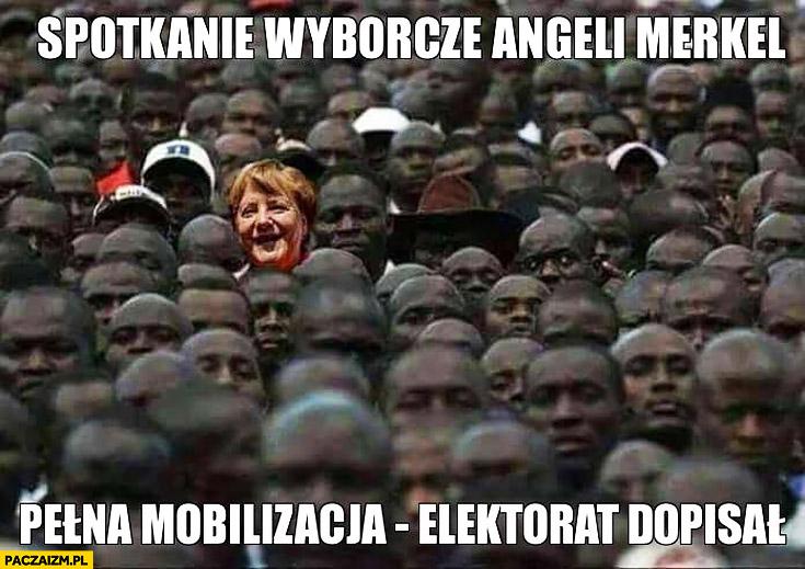 Spotkanie wyborcze Angeli Merkel sami murzyni pełna mobilizacja elektorat dopisał