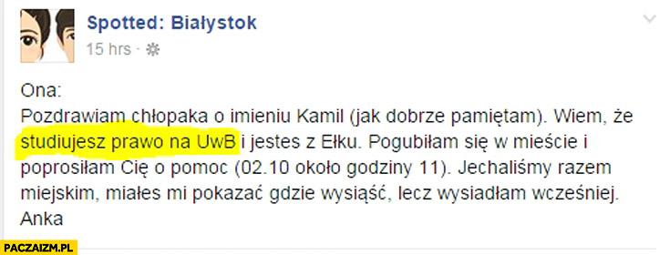 Spotted Białystok: wiem, że studiujesz prawo
