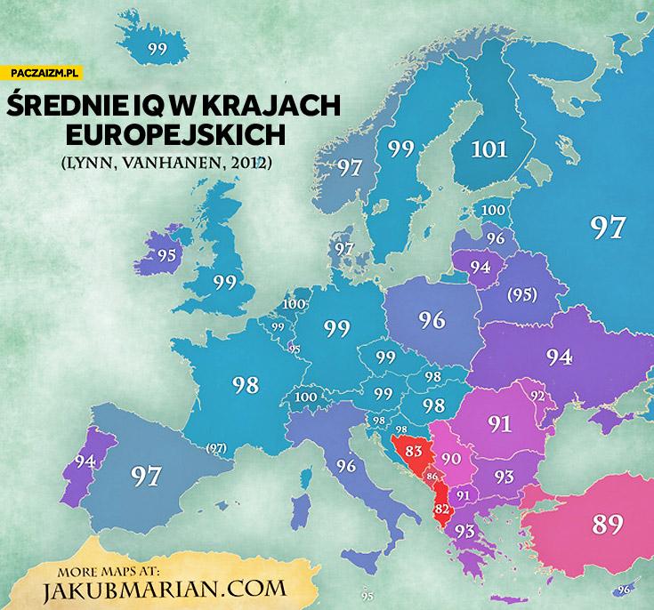 Średnie IQ w krajach europejskich