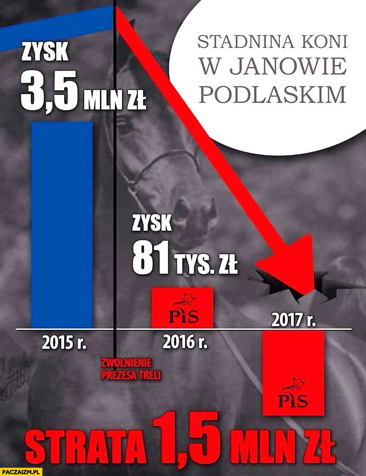 Stadnina koni w Janowie Podlaskim strata 15 mln złotych za rządów PiS po zwolnieniu prezesa Treli
