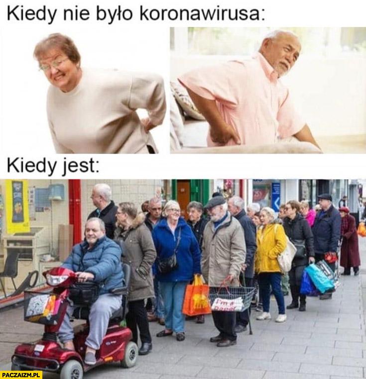 Stare baby starzy ludzie kiedy nie było koronawirusa łamie w krzyżu, kiedy jest stoją w kolejce w grupie