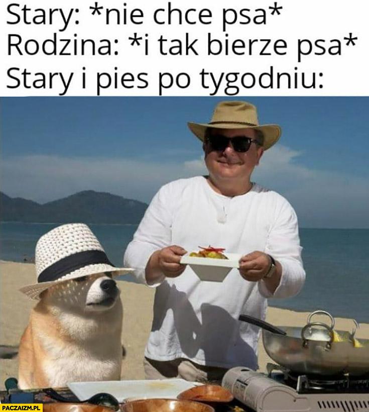 Stary: nie chce psa, rodzina: i tak bierze psa, stary i pies po tygodniu Makłowicz