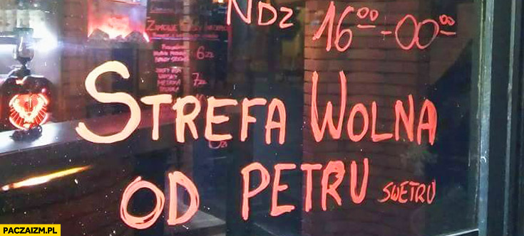 Strefa wolna od Petru bar pub