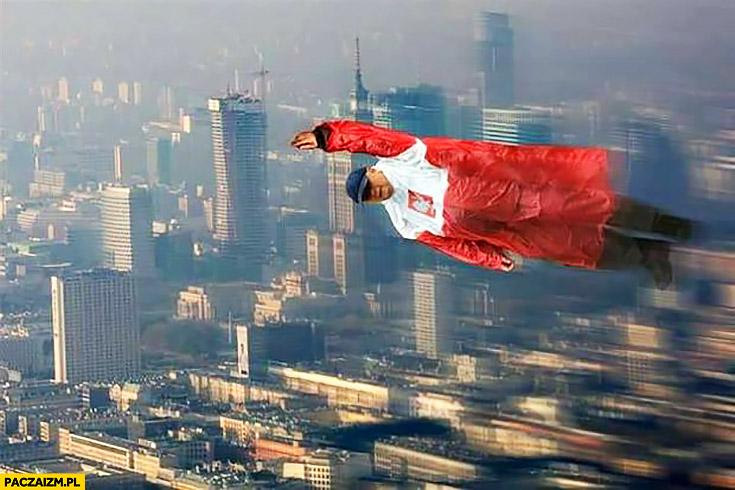 Supermen Superman Kaczyński płaszcz kurtka peleryna przeciwdeszczowa flaga polski przeróbka