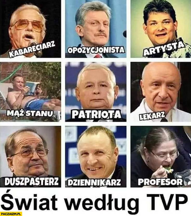 Świat według TVP: kabareciarz, opozycjonista, artysta, mąż stanu, patriota, lekarz, duszpasterz, dziennikarz, profesor