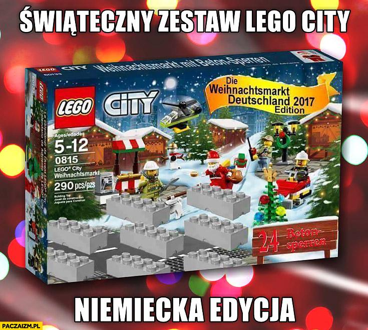 Świąteczny zestaw jarmark LEGO city niemiecka edycja fortyfikacje betonowe konstrukcje