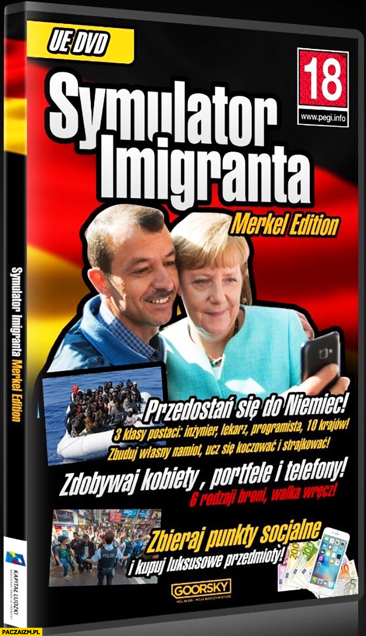 Symulator imigranta Merkel Edition przedostań się do Niemiec, zdobywaj kobiety, portfele i telefony, zbieraj punkty socjalne Goorsky