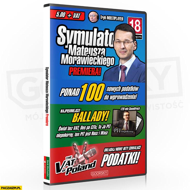 Symulator Mateusza Morawieckiego gra komputerowa pudełko ponad 100 nowych podatków do wprowadzenia Goorsky