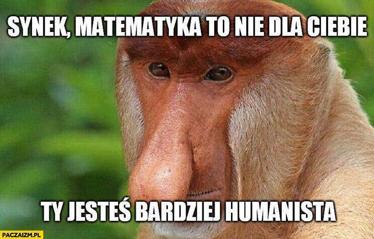 Synek matematyka to nie dla Ciebie, Ty jesteś bardziej humanista typowy Polak nosacz małpa