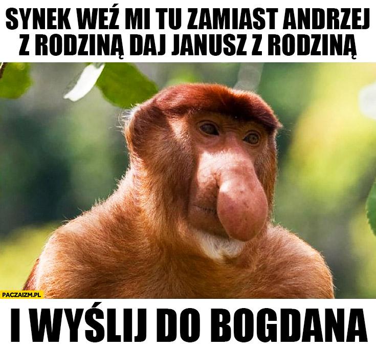 Synek weź mi tu zamiast Andrzej z rodziną daj Janusz z rodziną i wyślij do Bogdana typowy Polak nosacz małpa życzenia świąteczne