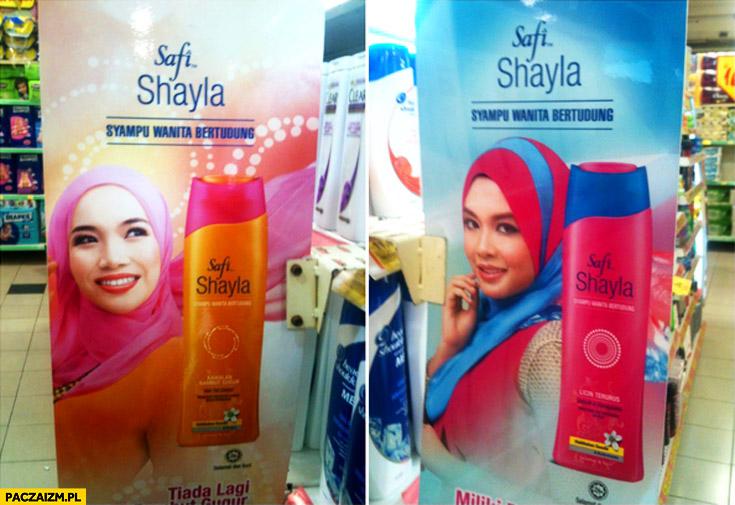 Szampon do włosów zmienia kolor chusty arabki reklama