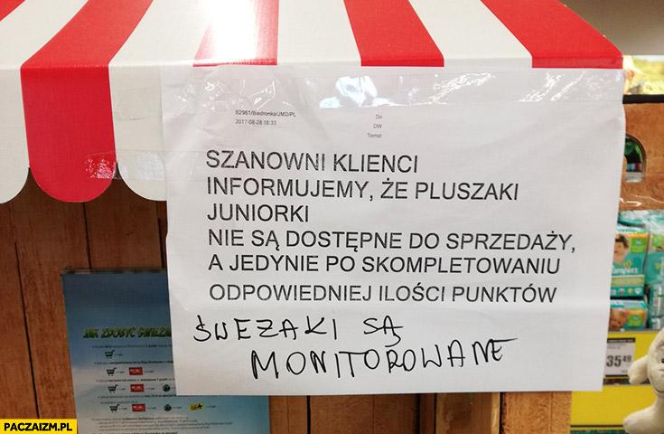 Szanowni klienci informujemy, że świeżaki są monitorowane kartka napis biedronka