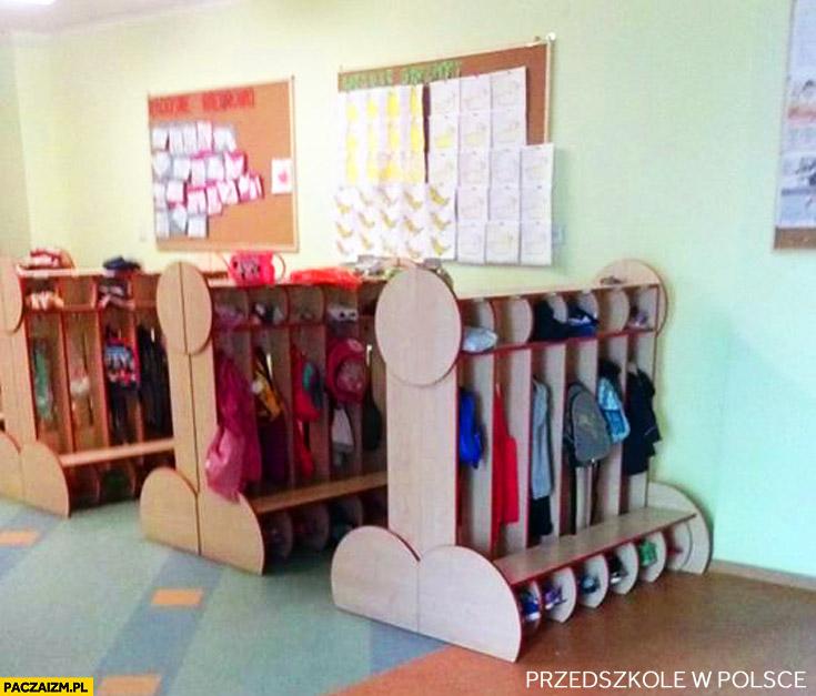 Szatnia w przedszkolu w dziwnym kształcie