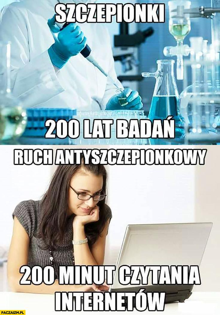 Szczepionki 200 lat badań, ruch antyszczepionkowy 200 minut czytania internetu