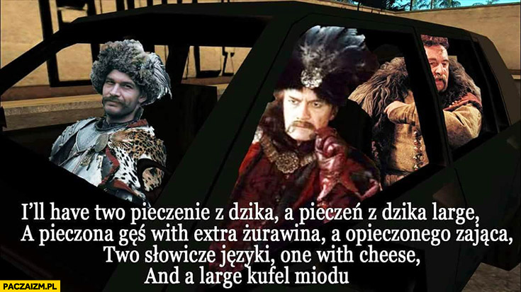 Szlachta polska sarmaci szlachcice zamawiają jedzenie na wynos w McDrive