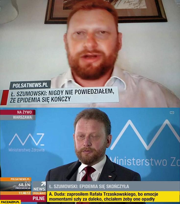 Szumowski nigdy nie powiedziałem, że epidemia się kończy, epidemia się skończyła pasek Polsat