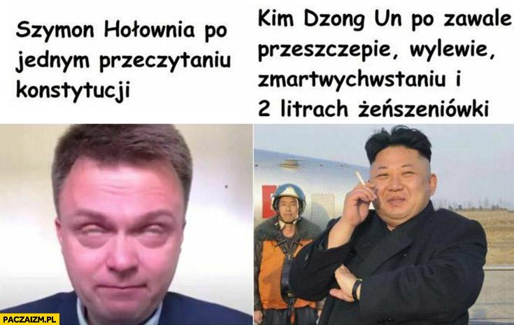 Szymon Hołownia płacze po jednym przeczytaniu konstytucji, Kim Jong Un po zawale, przeszczepie, wylewie, zmartwychwstaniu i 2 litrach żeńszeniówki porównanie