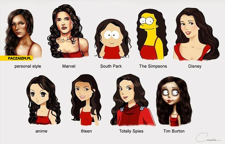 Ta sama kobieta różne style rysunku