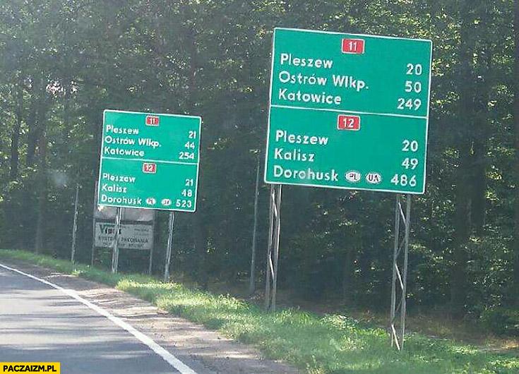 Tablice drogowe obok siebie pokazują różne odległości do miejscowości