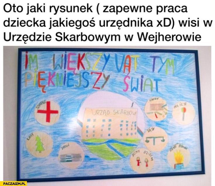 Taki rysunek wisi w urzędzie skarbowym w Wejcherowie im większy VAT tym piękniejszy świat