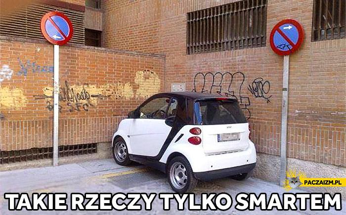 Takie rzeczy tylko Smartem parkowanie w rogu mimo zakazu