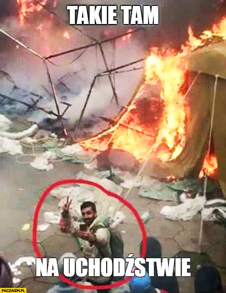 Takie tam na uchodźstwie pożar selfie