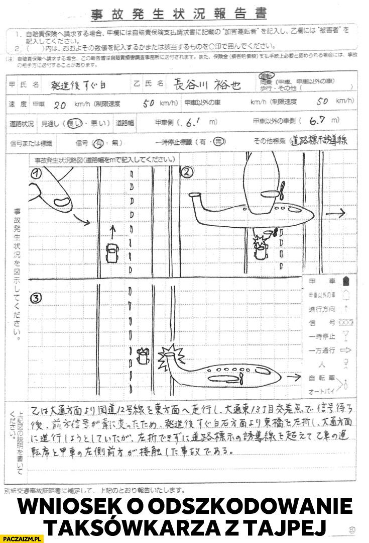 Taksówkarz z Tajpej wniosek o odszkodowanie samolot