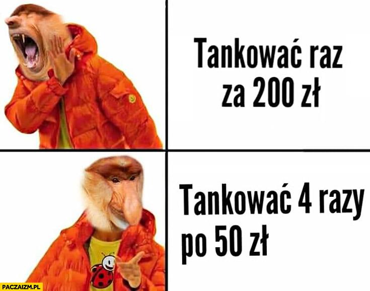 Tankować raz za 200zł vs tankować 4 razy po 50zł typowy Polak nosacz małpa