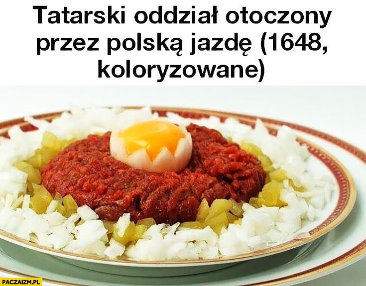 Tatarski oddział otoczony przez polską jazdę 1648 koloryzowane tatar jedzenie posiłek