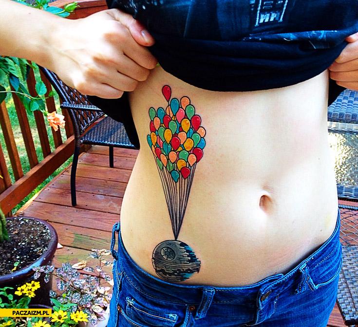 Tatuaż Gwiazda Śmierci balony