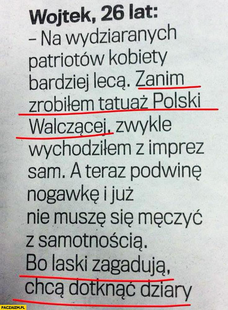 Tatuaż Polski Walczącej wyrywanie w klubie laski zagadują chcą dotknąć dziary