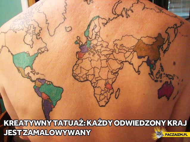 Tatuaż z mapą świata – odwiedzone kraje są zamalowywane