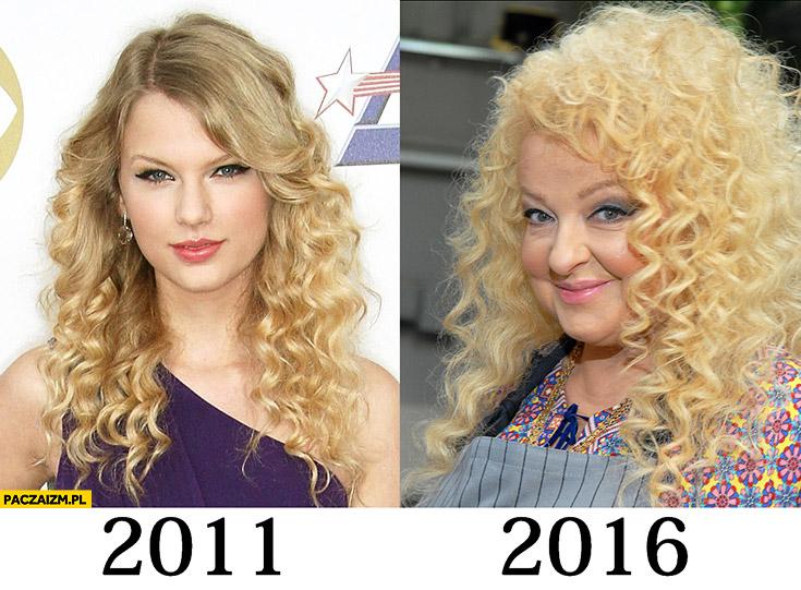 Taylor Swift 2011 2016 Magda Gessler kręcone włosy porównanie