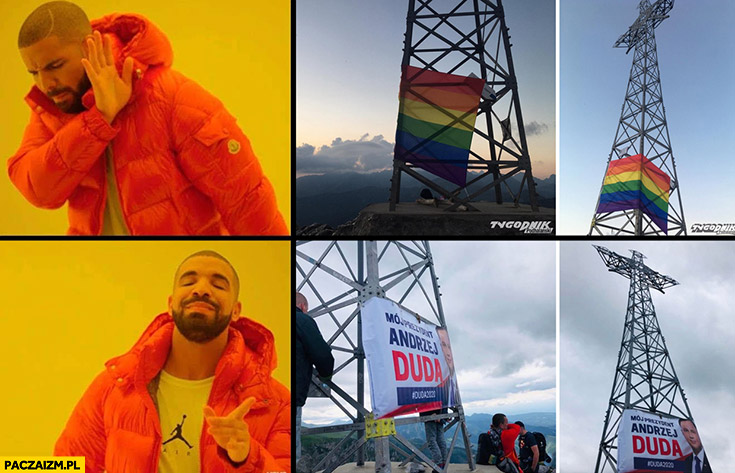Tęczowa flaga LGBT na krzyżu na Giewoncie nie chce woli plakat Andrzeja Dudy