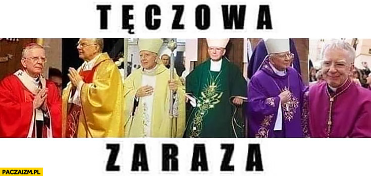 Tęczowa zaraza księża sutanna różne kolory tęcza
