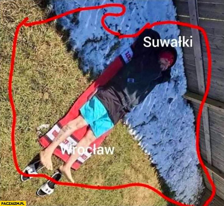 Temperatura w Polsce Suwałki zimno Wrocław gorąco gość typek w kurtce i spodenkach