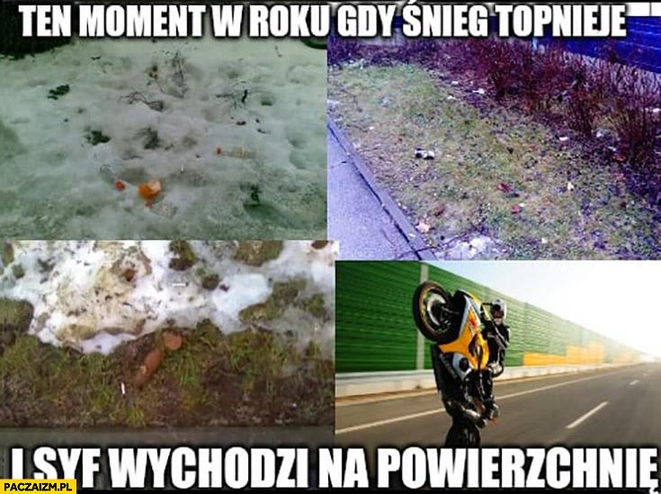 Ten moment w roku gdy śnieg topnieje i syf wychodzi na powierzchnię motocykliści