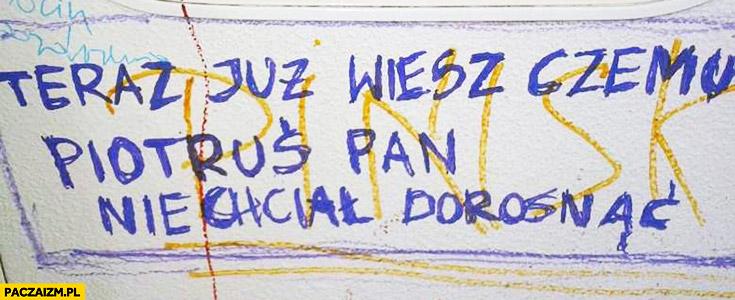 Teraz już wiesz czemu Piotruś Pan nie chciał dorosnąć napis na murze